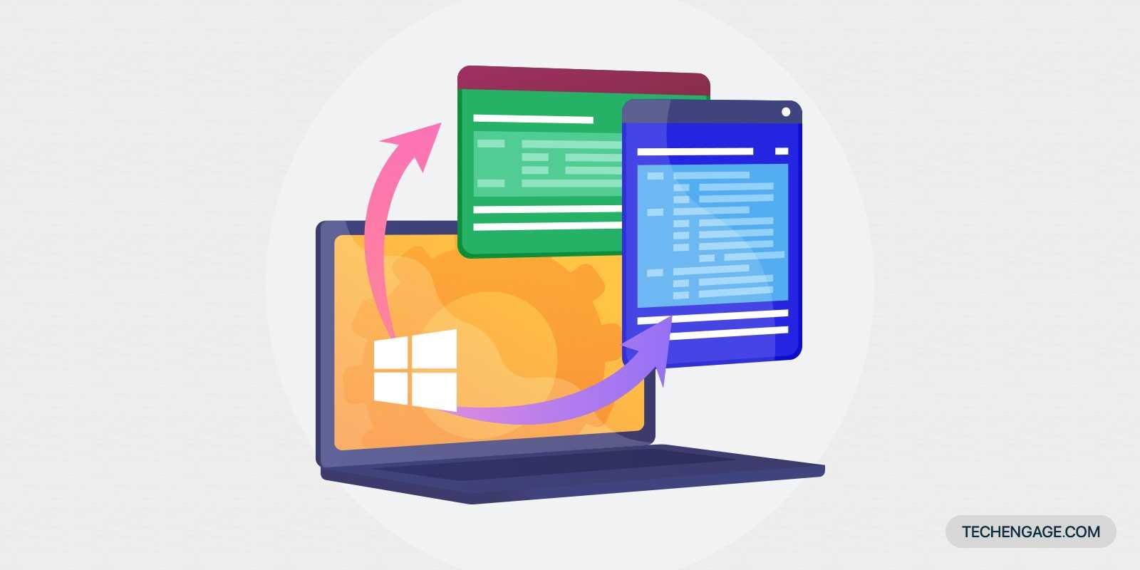 Une icône d'ordinateur portable avec système d'exploitation Windows avec des applications qui sortent de l'écran