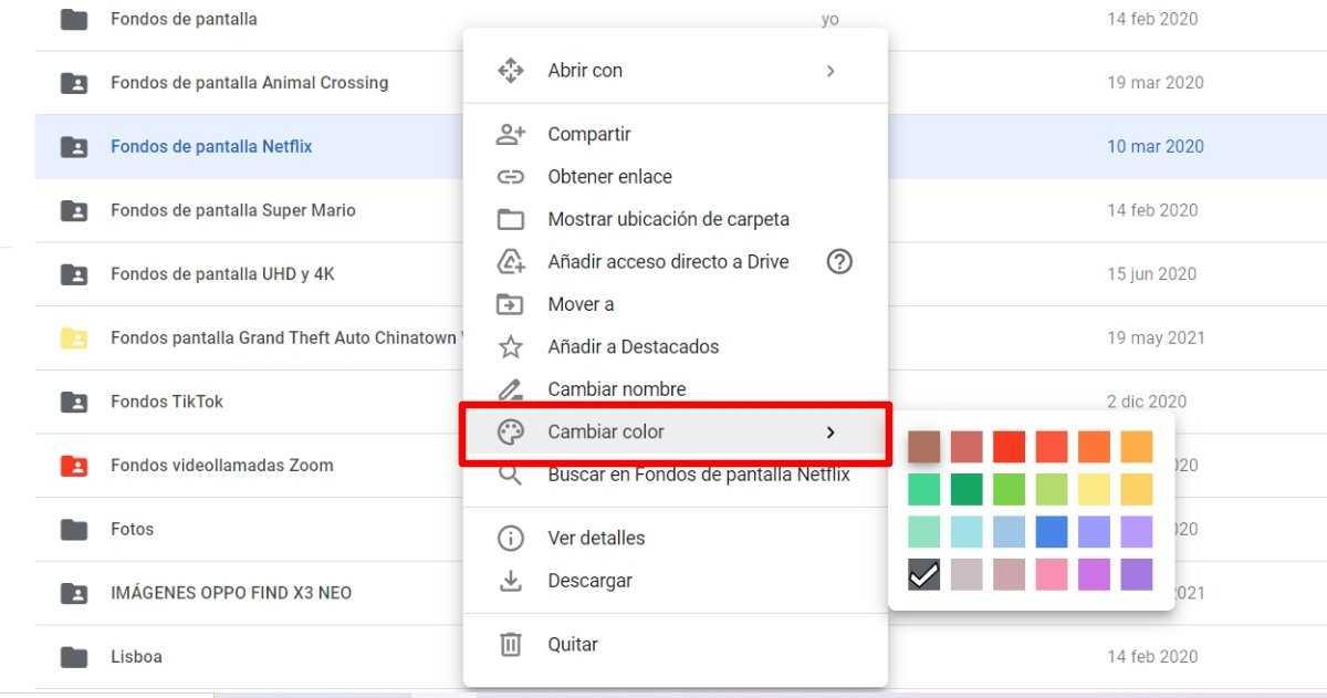 Changer la couleur du dossier Google Drive