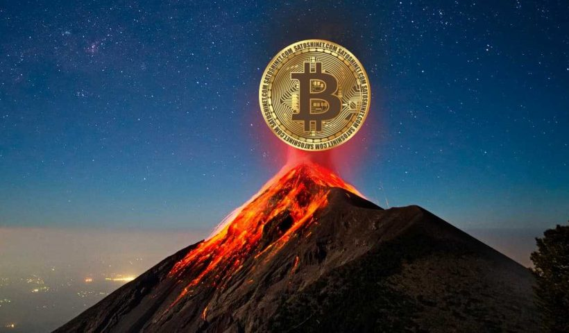 Ilustração bitcoin e vulcões de El Salvador