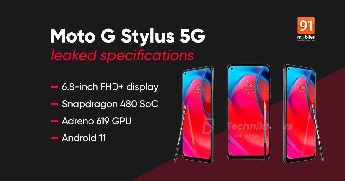 Filtrage des spécifications du nouveau stylet Motorola Moto G avec 5G