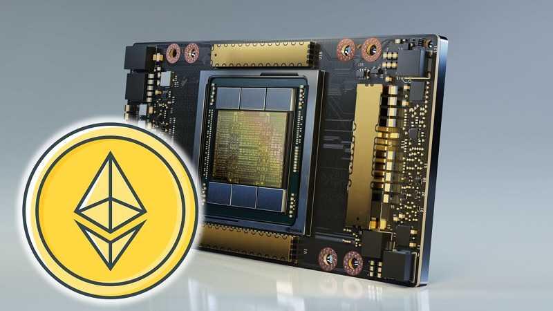 L'image montre un Nvidia CMP 170HX avec un taux de hachage Ethereum de 164 MH/sec