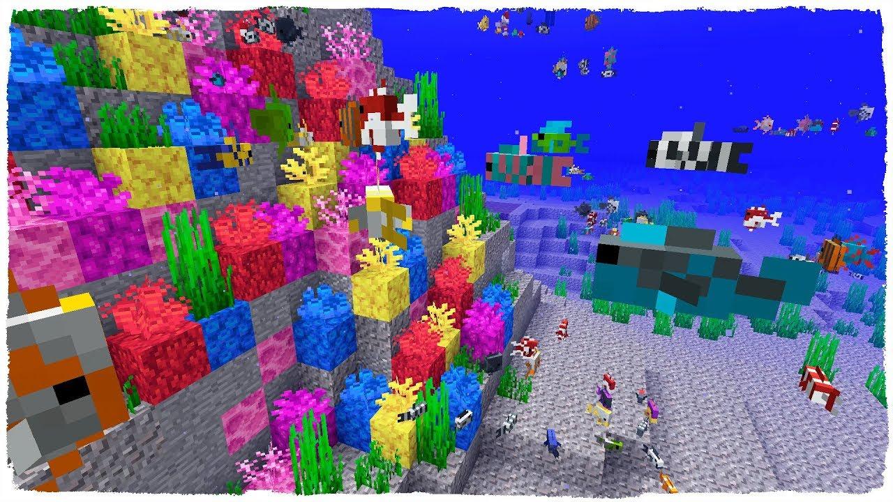 Des coral fans et poissons tropicaux - Minecraft snapshot 18w16a